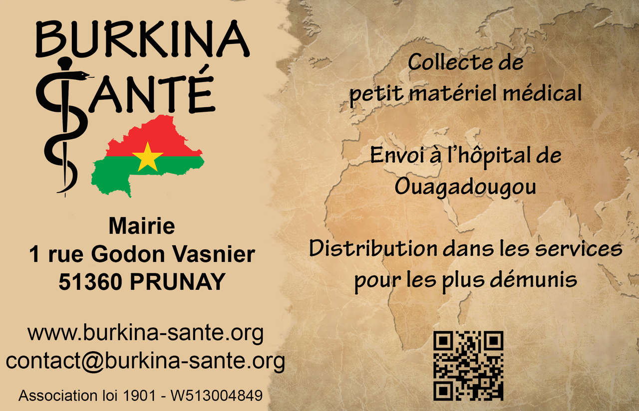La carte de visite de l'association Burkina Santé.